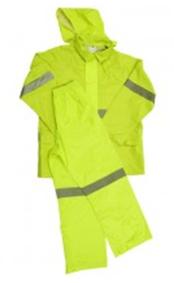 Lime reflective rubberised rainsuits Image